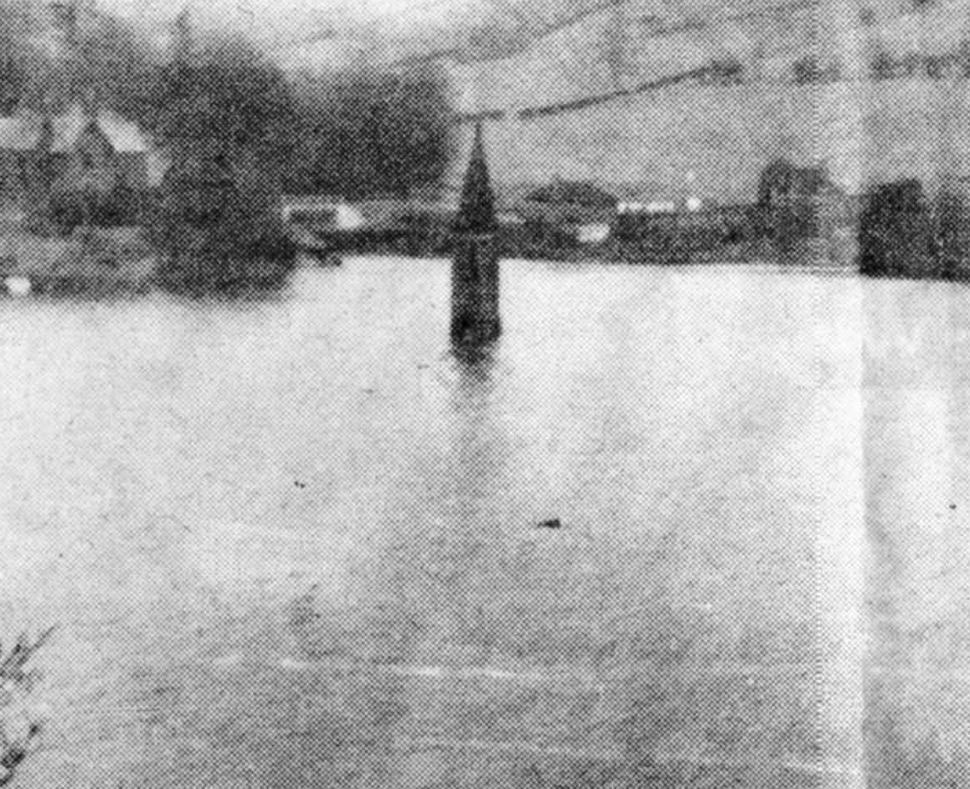 Church tower at Ladybower Reservoir