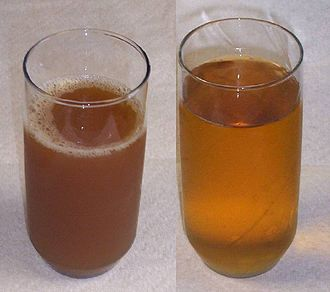 Apple cider - Apple cider (left) is an unfiltered, unsweetened apple juice. Most present-day apple juice is pasteurized and filtered (right).