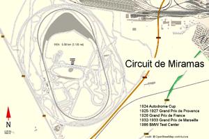 1926 French Grand Prix - Image: Circuit miramas (openstreetmap)