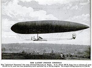 "Astra Clément-Bayard - Clément-Bayard Airship No 4, the ""Adjudant Vincenot"" circa 1910. Caption from Popular Mechanics magazine 1910"