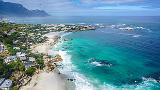 Clifton, Cape Town - An aerial view of Clifton 4th (furthest out), 3rd, and 2nd beaches (closest to the foreground).