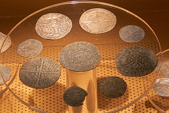 Mitton Hoard - A selection of coins from the Mitton Hoard on display at Clitheroe Castle Museum