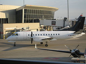 Colgan Air - Saab 340B in an unmarked livery operated by Colgan Air at Logan International Airport