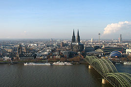 Cologne skyline, with the Groß St. Martin, Cologne Cathedral, and the Hohenzollernbrücke