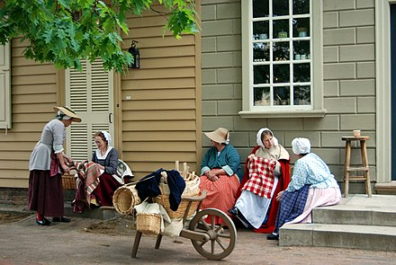 Colonial Virginian culture, language, and style are reenacted in Williamsburg. Colonial Williamsburg ladies.jpg