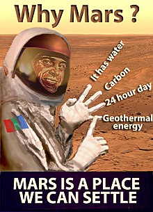 A man in a space suit on Mars