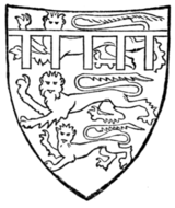 Fig. 705.—Edward of Carnarvon, Prince of Wales (afterwards Edward II.), bore before 1307: England with a label azure. (From his seal, 1305.)