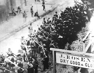 Maryland Campaign - Confederate troops marching west on East Patrick Street, Frederick, Maryland, September 12, 1862