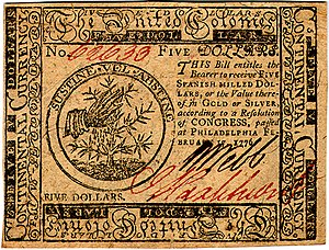 Continental Currency $5 banknote obverse (February 17, 1776).jpg