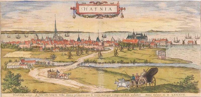 Vue sur Copenhague au Danemark en 1587.