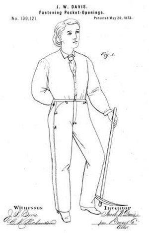 Jacob W. Davis - Figure from US Patent No. 139,121