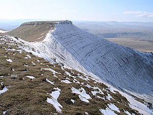 Corn Du - Corn Du from Pen y Fan showing distinctive strata and the summit cairn
