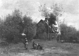 Farmyard at Sin, near Douai, with Children at Play