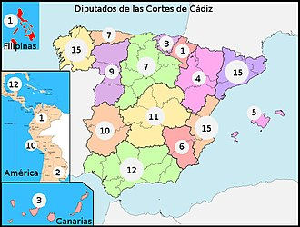 Spanish American wars of independence - Deputies of Cádiz Cortes by territories