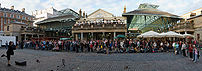 A panoramic scene of Covent Garden, London and...