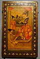 Cover of a mirror case with Muhammad Shah, Prince Nasir al-Din, and Haji Mirza Aqasi, Iran, c. 1835-1840 AD, watercolor, gold-colored pigments, and lacquer on pasteboard- Arthur M. Sackler Gallery - DSC05302.jpg