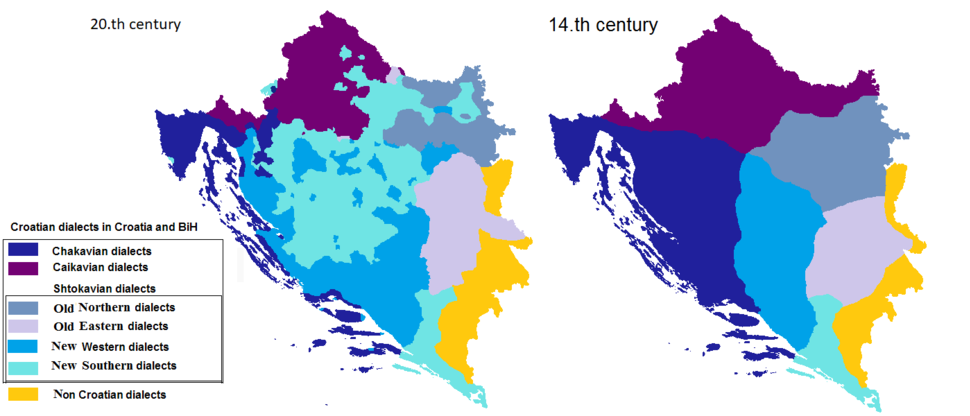 Croatian dialects in RH and BiH diference between 20 and 14 century