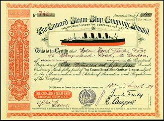 Cunard Line - Share of the Cunard Steam-Ship Company, issued 1909