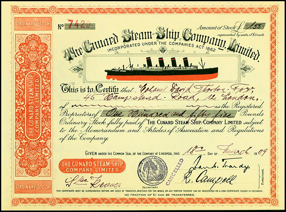 Cunard Steam Ship Company 1909