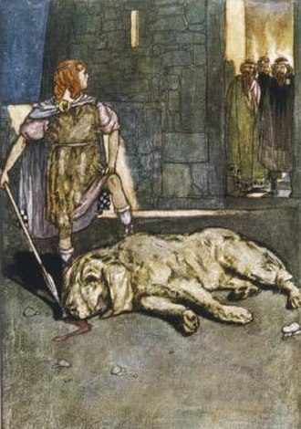 "Demigod - ""Cuchulain Slays the Hound of Culain"", illustration by Stephen Reid from Eleanor Hull's The Boys' Cuchulain, 1904"