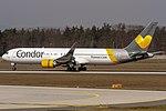 D-ABUA Condor Boeing 767-330(ER)(WL) coming in from Cancun MMUN on Rwy25R @ Frankfurt - Rhein-Main International (FRA - EDDF) - 08.04.2015 (31493716683).jpg