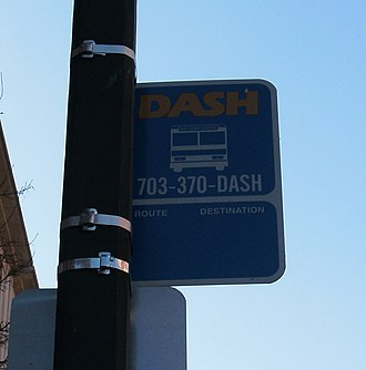 DASH (bus) - DASH sign on a lamppost on Duke St.