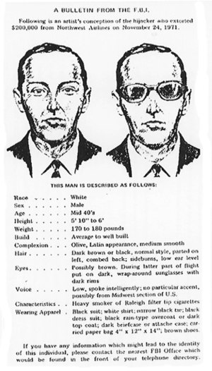 D. B. Cooper - FBI wanted poster of D. B. Cooper