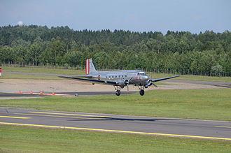 Sandefjord Airport, Torp - Douglas DC-3 of Dakota Norway landing at Torp