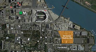 Audi Field - Proposed location relative to Nationals Park and Navy Yard–Ballpark Station