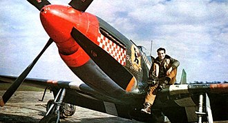Italian Americans - Dominic Salvatore Don Gentile on the wing of his P-51B, 'Shangri-La'