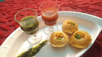 Dahi puri - Dahi puri, a common street food.