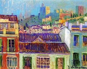 """Darío de Regoyos - View of the Alhambra"""""""
