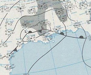 December 1969 nor'easter - Map of the developing low-pressure system north of the Gulf of Mexico on December 25