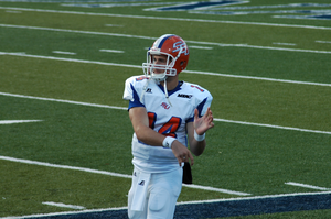 Savannah State Tigers and Lady Tigers - Sophomore quarterback A.J. Defillips warms up during the Savannah State vs. Old Dominion game. (Taken on November 6, 2010).