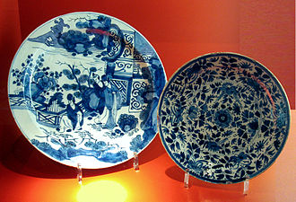 Delftware - 18th century Delftware, the plate at left with a Japanese scene