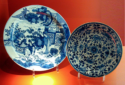 18th century Delftware, the plate at left with a Japanese scene DelftChina18thCenturyCompanieDesIndes.jpg