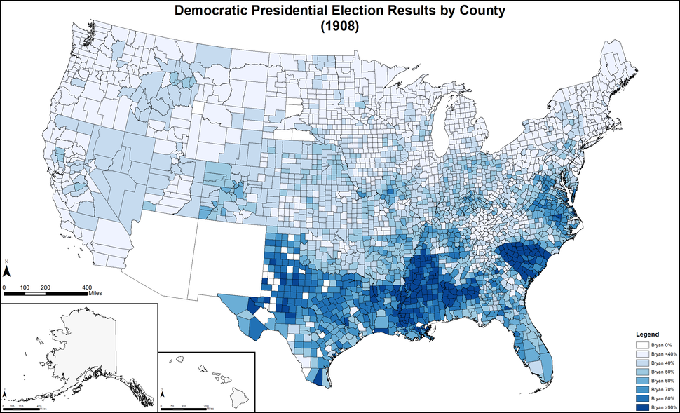 DemocraticPresidentialCounty1908Colorbrewer