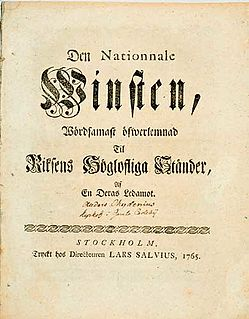 <i>The National Gain</i> book by Anders Chydenius