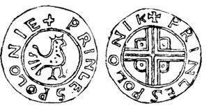Name of Poland - Bolesław Chrobry Denarius from the 11th century with the Latin name Polonie.