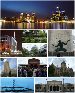 From top to bottom, left to right: Downtown Detroit skyline and the Detroit River, Fox Theatre, Dorothy H. Turkel House in Palmer Woods, Belle Isle Conservatory, The Spirit of Detroit, Fisher Building, Eastern Market, Old Main at وین اسٹیٹ یونیورسٹی, Ambassador Bridge, and the Detroit Institute of Arts