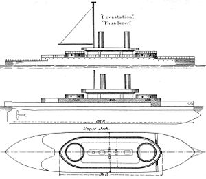 HMS Thunderer (1872) - Right elevation and plan from Brassey's Naval Annual, 1888