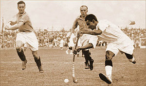 Dhyan Chand with the ball vs. France in the 1936 Olympic semi-finals.jpg
