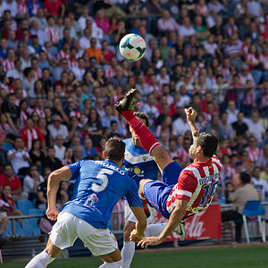 Bicycle kick - Atlético Madrid striker Diego Costa performing a bicycle kick in a match against Almería in 2013