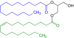 Mono- and diglycerides of fatty acids - Diglyceride, in this example with a saturated fatty acid residue (highlighted blue) and an unsaturated fatty acid residue (highlighted  green).