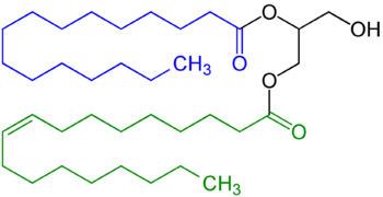 Diglyceride, in this example with a saturated fatty acid residue (highlighted blue) and a unsaturated fatty acid residue (highlighted  (green).