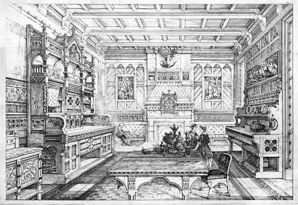 Interior View Of Dining Room 1876 Illustration By Bruce James
