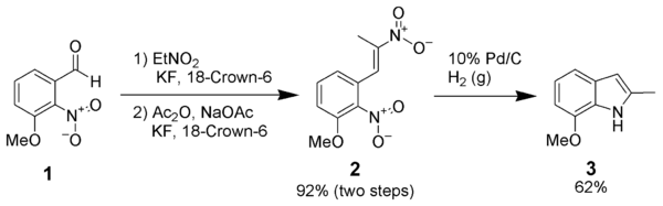 An example of a dinitrostyrene reductive cyclization