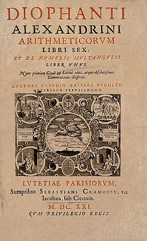Diophantus - Title page of the 1621 edition of Diophantus' Arithmetica, translated into Latin by Claude Gaspard Bachet de Méziriac.