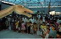 Diplodocus with Visitors - Dinosaurs Alive Exhibition - Science City - Calcutta 1995-June-July 559.JPG