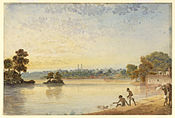 Distant view of Benares with two men catching turtles in the foreground from the Mandakini tank by James Prinsep.jpg